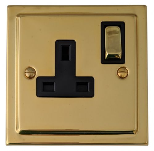 G&H TB309 Trimline Plate Polished Brass 1 Gang Single 13A Switched Plug Socket